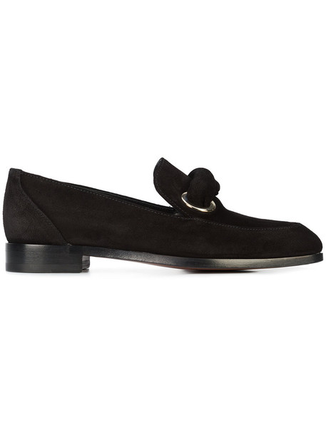 women loafers leather black shoes