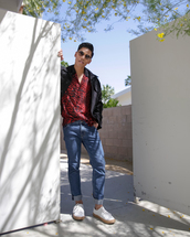 closet freaks,blogger,jacket,shirt,jeans,sunglasses