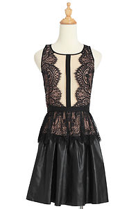 $338 BCBG Max Azria Layton Lace Faux Leather Dress | eBay