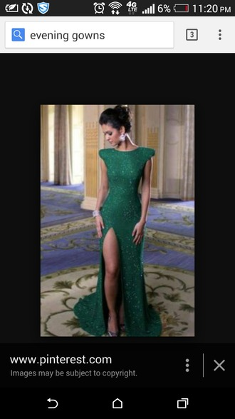 dress green gown slit dress open slit long prom dress floor length dress