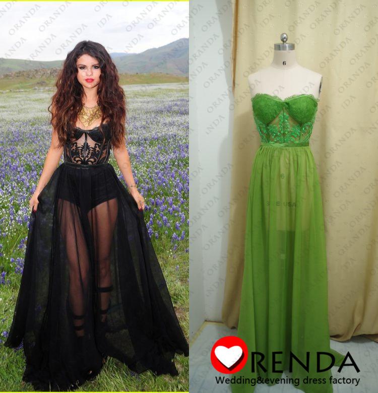 Real image 2013 selena gomez sweetheart robe sexy voir à travers un  ligne de sol longueur robes de dans  de  sur Aliexpress.com