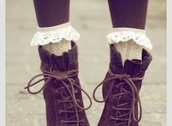 shoes,tie up boots frill socks,boots,brown,fall outfits,winter outfits,lace,lacy,cute,teenagers,vintage,floral,english,british,high,heel,heels,boot,sweet,tumblr
