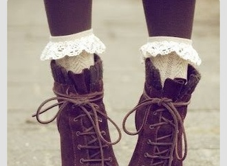 shoes tie up boots frill socks boots brown fall outfits winter outfits lace lacy cute teenagers vintage floral english british high heel heels boot sweet tumblr