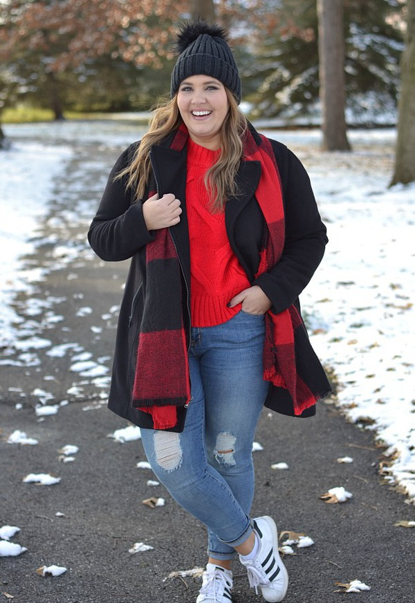 mommyinheels blogger sweater jacket scarf shoes hat beanie red sweater sneakers black coat winter outfits
