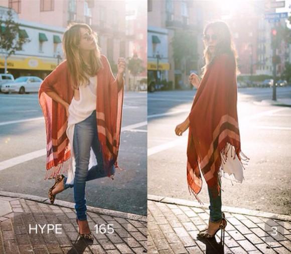 cardigan lookbook red stripes poncho
