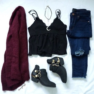 top tumblr tumblr outfit cute outfits aesthetic cute cardigan ripped jeans black top