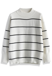 sweater,modern stripes sweater in white,chicwish