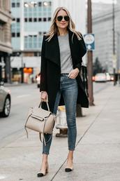 fashionjackson,blogger,coat,dress,shoes,sweater,jeans,bag,sunglasses,fall outfits,handbag,black coat,grey top,tumblr,denim,blue jeans,cropped jeans,grey sweater,nude bag