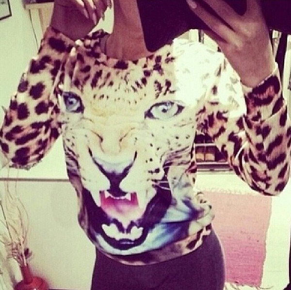 sweater tiger shirt animal print tiger animal face print
