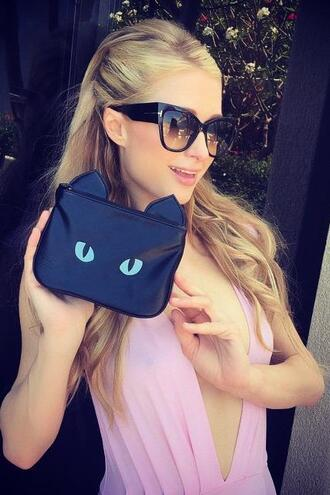 dress plunge dress paris hilton purse bag cats
