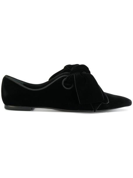 Tory Burch bow women mules leather black velvet shoes