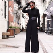 pants,wide,wide-leg pants,all black everything,belt bag