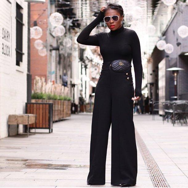 pants wide wide-leg pants all black everything belt bag