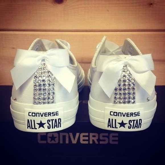 shoes ribbon converse diamonds converse all star retro noeud sparkles white allstars