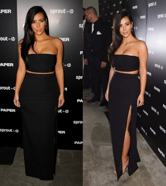 skirt top crop tops strapless black gown prom dress kim kardashian shirt