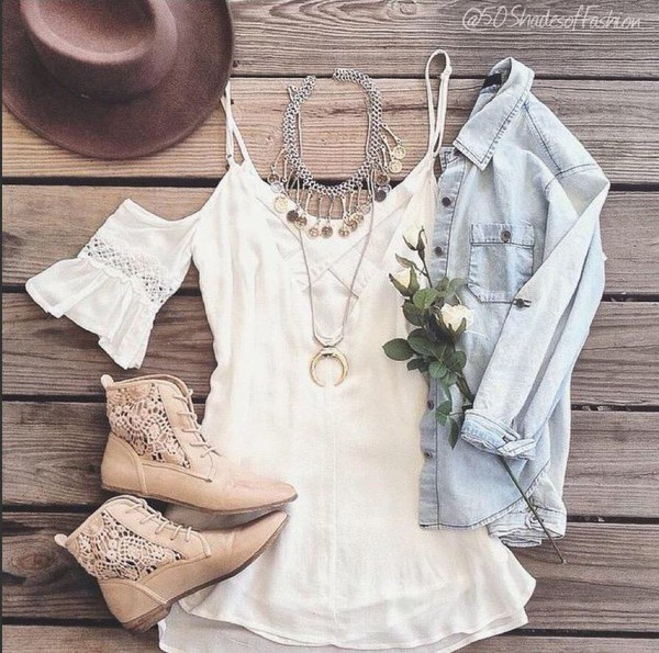 shoes dress white dress white lace dress blouse jacket denim jacket coat jewels boots nude boots with laces fringes romper