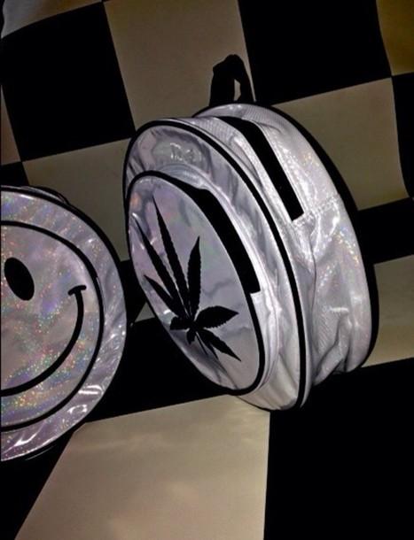 bag silver weed happy face kawaii cute backpack