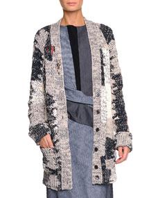 Mended yarn long cardigan, dark navy/sand