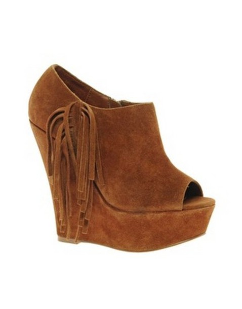 shoes franges fringe brown wedges compens