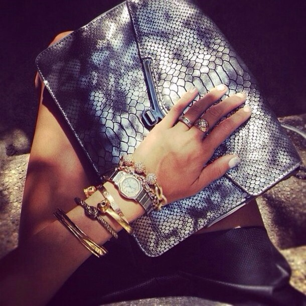 bag purse crocodile grey jewels skirt vue boutique python clutch snake print crocodile accessories