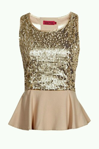 sparkly new year's eve night sequins nude top new years beige sleeveless peplum