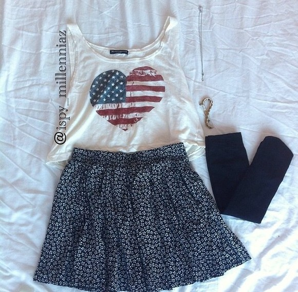 tank top america underwear red blue white skirt crop tops stockings socks knee high thigh high socks black heart floral