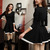 FASHION BLACK LONG SLEEVE NICE DRES / Dopediva