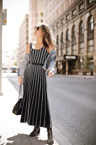 dress striped dress stripes maxi dress jacket boots sunglasses black boots ankle boots