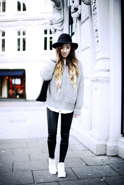 flirting with fashion blogger hat grey sweater white sneakers sweater blouse pants shoes bag