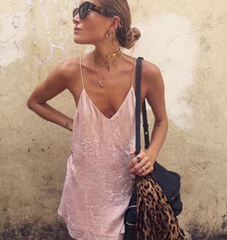 dress pastel pastel dress silk dress slip dress pink dress leopard print scarf animal print stacked jewelry tortoise shell sunglasses