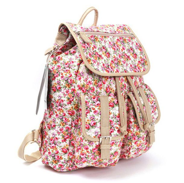 Bag floral pink white flowers leather backpack wheretoget mightylinksfo