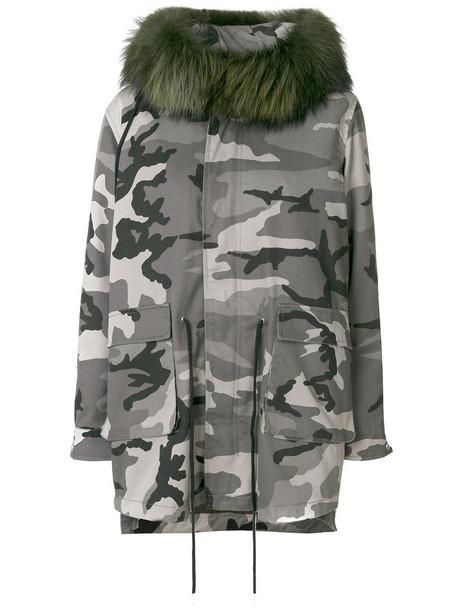 Cara Mila parka fur fox women cotton silk green coat
