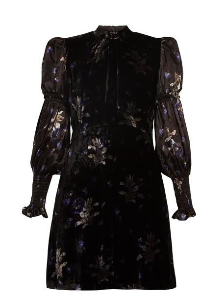 Rebecca Taylor dress velvet dress print velvet violet black