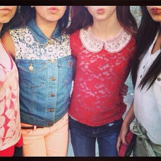 jeans lace top denim jacket peter pan collar friends