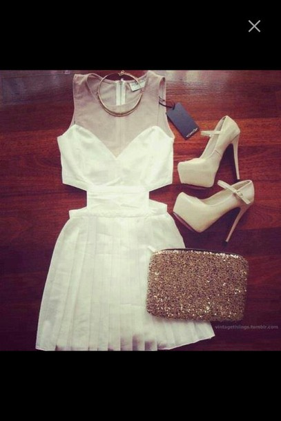 dress cute cut-out heels sequins purse white dress fringes see through short dress skater dress