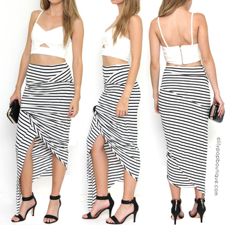 skirt maxi skirt black and white sexy outfit ootd skirt ootd ootn ootdfash ootd pinstripe skirt rouche wiwt wiw ideas outfits black and white skirt evening outfits