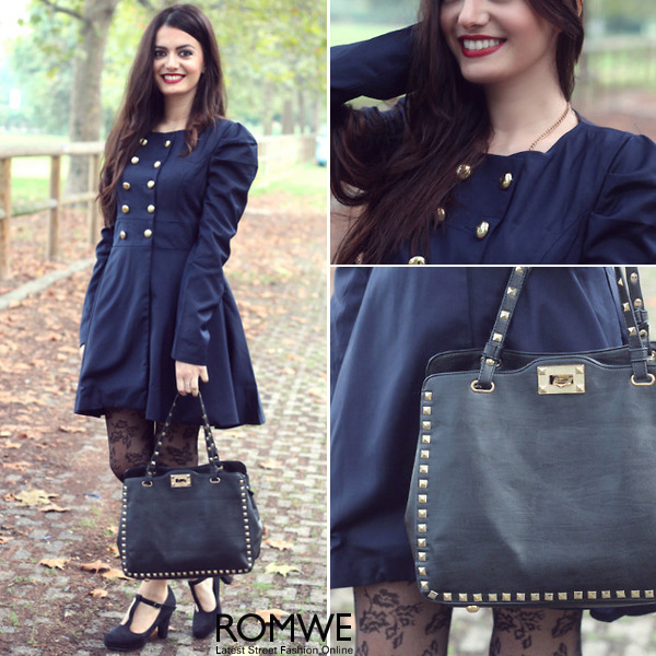 ROMWE | ROMWE Double-breasted Pleated Blue Coat, The Latest Street Fashion