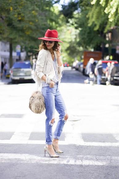 fringe blogger jacket something navy jeans t-shirt bag make-up ripped jeans