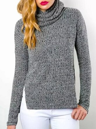 sweater grey fall outfits winter outfits casual long sleeves warm cozy fashion style