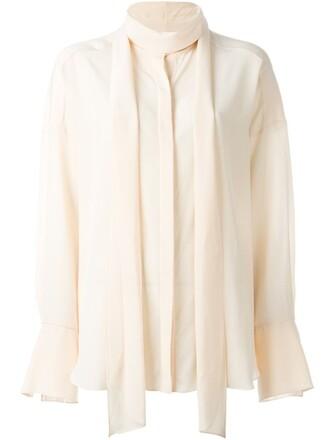 blouse women nude silk top