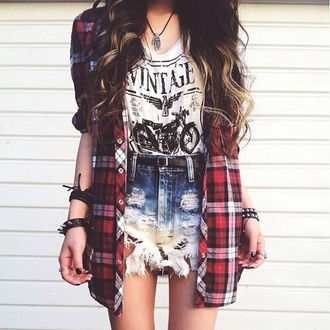 top grunge flannel shirt shorts
