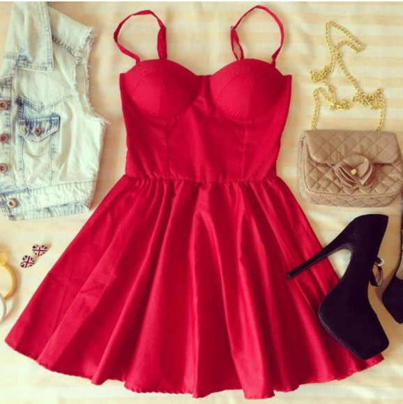 bustier dress sexy dress red dress
