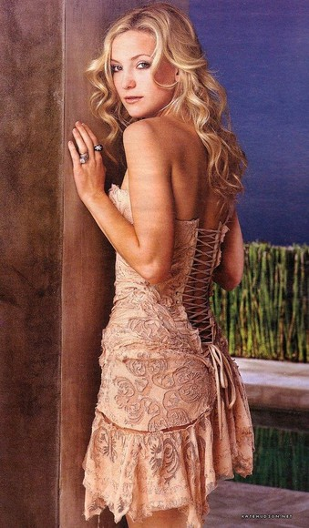 dress kate hudson roberto cavalli corset lace flowers nude beige color