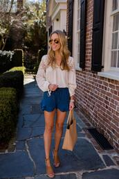 katie's bliss - a personal style blog based in nyc,blogger,shorts,blouse,bag,shoes,sunglasses,jewels,tote bag,sandals,blue shorts