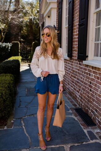katie's bliss - a personal style blog based in nyc blogger shorts blouse bag shoes sunglasses jewels tote bag sandals blue shorts