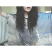 top,shirt,clouds,pattern,blue,white