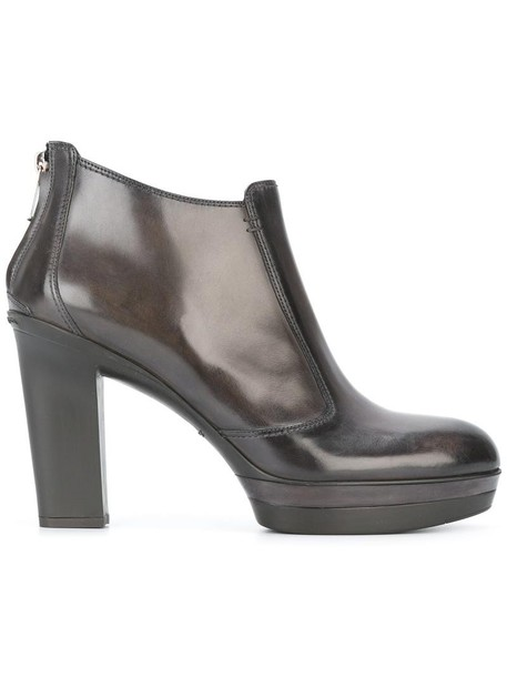 Santoni zip women boots ankle boots leather brown shoes