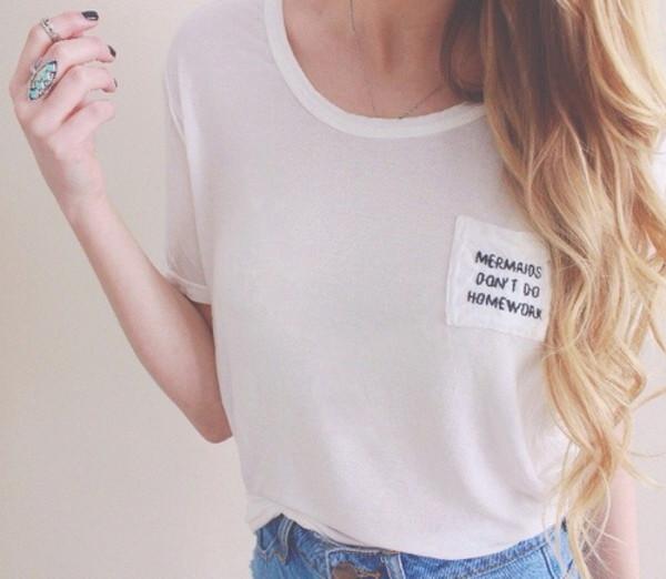 shirt lovely t-shirt t-shirt crop tops top mermaid t-shirt brandy melville