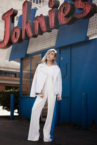 feral creature blogger jumpsuit white jacket