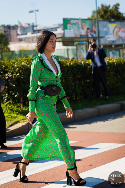 bag, dress, green dress, sandals